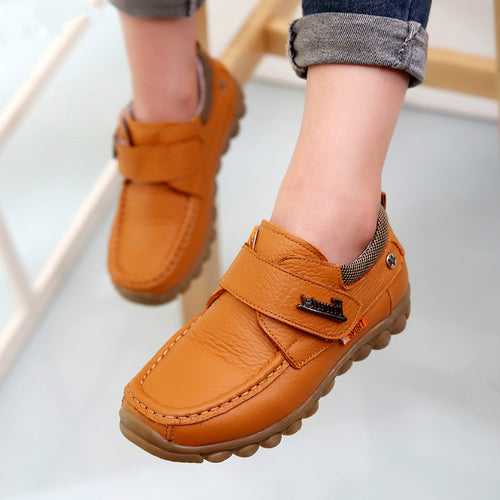 2019 Spring Kids Genuine Leather Shoes For Boys Black School Leather Classic Casual Shoes Children Oxford Soft Bottom Moccasins