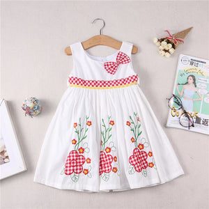 New Summer Bow Flower Dress Girl Princess dress made of 100% cotton fabric cute girls  birthday dress