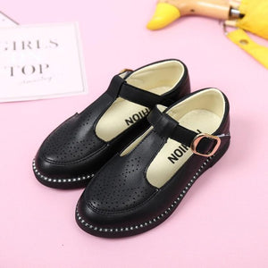 Kids Shoes Girls Princess School Leather Shoes Black White Hollow Breathable Children Party Dress Flat Students Casual Shoes New