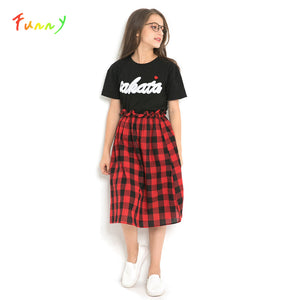 Kids Summer Clothes Black Letter Print T-shirt Red Plaid Skirt Teenage Girls Clothing Casual Kids Sets Back to School Outfit