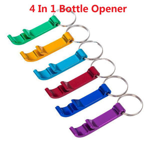 Creative 4 In 1 Bottle Opener Portable Keychain Key Ring Beer Can Bottle Opener Party Wedding Favor Gifts Kitchen Bar Gadgets