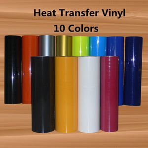 "PU Heat Transfer Vinyl HTV for T-Shirts 12"" x16ft Roll Easy to Weed Iron on Vinyl for Cricut & Silhouette Cameo"