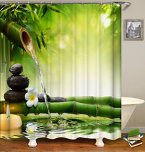 Load image into Gallery viewer, Jardin Zen Shower Curtain With Hooks fabric 3d bathroom shower curtains Green curtain waterproof Bath Curtains Or Mat