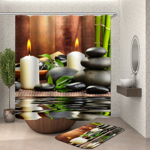 Jardin Zen Shower Curtain With Hooks fabric 3d bathroom shower curtains Green curtain waterproof Bath Curtains Or Mat