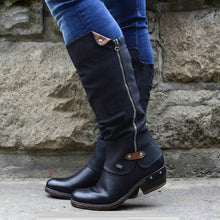 Load image into Gallery viewer, Shoes Woman 2019 Fashion Women Western Cowboy Knee Boots Punk Boots Low Thick Heel Side Zippper Booties Botas Mujer Dropship