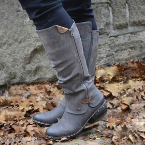 Shoes Woman 2019 Fashion Women Western Cowboy Knee Boots Punk Boots Low Thick Heel Side Zippper Booties Botas Mujer Dropship