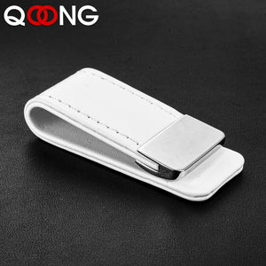 QOONG High Quality Leather Money Clip Metal Men Women Card Pack Slim Bills Cash Clips Clamp for Money Thin Billfold Holder
