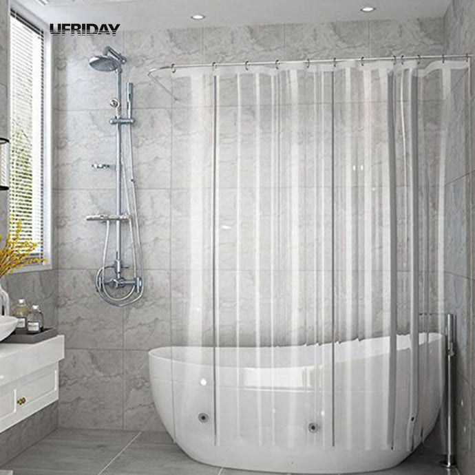 UFRIDAY Full Transparent Shower Curtain Liner Clear Bath Curtains PEVA Mildew Proof Waterproof Fabric Bathroom Curtain for Home