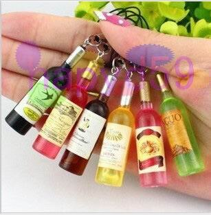 2pcs Fashion wine bottle lover cell phone chain mobile phone pendant strap bag decoration wedding gift supplies