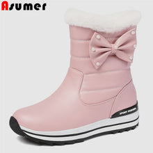 Load image into Gallery viewer, ASUMER Big Size 31-43 New winter boot Parent-child shoes Korean style girl bowtie keep warm snow boots women casual ankle boots