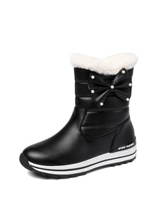 ASUMER Big Size 31-43 New winter boot Parent-child shoes Korean style girl bowtie keep warm snow boots women casual ankle boots