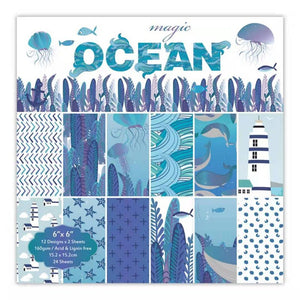 24pcs 6 Inch Ocean Style DIY Album Scrapbook Craft Paper Scrapbooking Packs Paper Origami Art Background Pads Paper Card Making