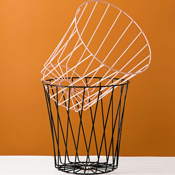 Wrought Iron Wire Cage Trash Can Round Wastebasket Office Trash Can Waste Basket Garbage Container for Bathroom, Kitchen