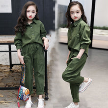 Load image into Gallery viewer, Kids Costume Teen Girls Clothing Set 2020 Spring ArmyGree Blouse Pants Suit School Girls Tracksuit Kids Clothes Set 10 12 Years
