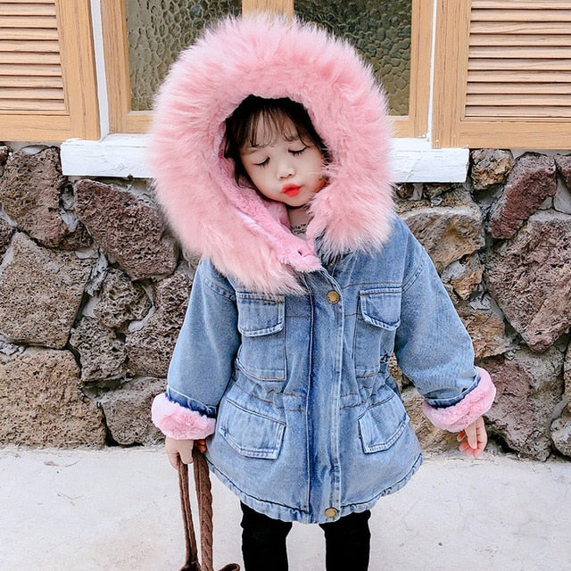 Winter Baby Girl Denim Jacket Plus Fur Warm Toddler Girl Outerwear Plush denim jacket cotton 1-5 Years Kids Infant Girl Parka