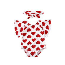 Load image into Gallery viewer, 0-18M Newborn Baby Girl Romper Valentine's Day Red Heart Baby Girl Clothes Ruffle Jumpsuit Headband Toddler Infant Girl Costumes