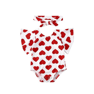 0-18M Newborn Baby Girl Romper Valentine's Day Red Heart Baby Girl Clothes Ruffle Jumpsuit Headband Toddler Infant Girl Costumes