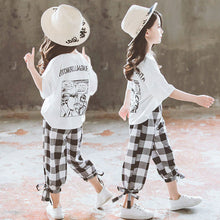 Load image into Gallery viewer, 2020 Summer Girls Clothing Sets Girls Short Sleeve T-shirt+Casual Pants Teen Girl Clothes 8 10 12 14 Years back to school outfit