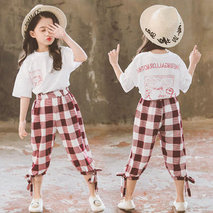 2020 Summer Girls Clothing Sets Girls Short Sleeve T-shirt+Casual Pants Teen Girl Clothes 8 10 12 14 Years back to school outfit