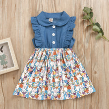 Load image into Gallery viewer, Toddler Kids Baby Girls Rabbit Print Easter Denim Dress Princess Outfits Clothes Cotton Newborn  for Fashion Baby Girl Clothes