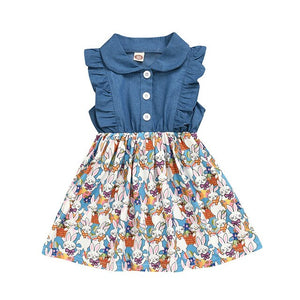 Toddler Kids Baby Girls Rabbit Print Easter Denim Dress Princess Outfits Clothes Cotton Newborn  for Fashion Baby Girl Clothes