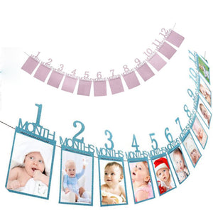 1-12 Months Baby Photo Folder Kids Birthday Theme Party Decorations Toys Photo Banner Monthly Photo Wall Home Decoration Banner
