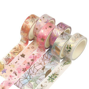 6Rolls/Set Flower Foil Washi Tape Floral Decorative Tape Scrapbooking Photo Album School Tools Kawaii Scrapbook Paper Gift Set