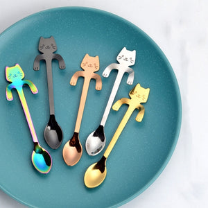 1/5 Pcs Stainless Steel Cartoon Cat Spoon Long Handle Flatware Coffee Spoon Mug Tea Spoon Coffee Drinking Tools Kitchen Gadget