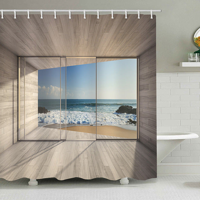 Sea Outside Glass Balcony Print Waterproof Shower Curtain Polyester Fabric Bath Curtain Washable Home Bath Decor With 12 Hooks