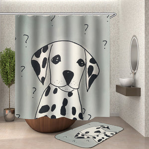 Cartoon shower curtain  with hooks fabric Animal 3d bath curtain shower curtains waterproof  bathroom curtain Or mat