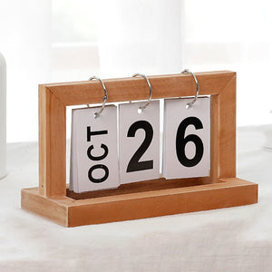 Office Wooden Vintage Home Calendar Cafe Desktop Decorative Rustic Ornaments DIY Flip