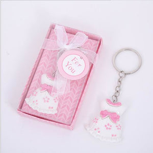 10pcs Baby Shower Favors pink Clothes Design Keychain Baby Baptism Gift For Guest Birthday Party Souvenir