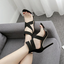 Load image into Gallery viewer, 2019 Summer Ladies Party Pumps Shoes 11.5cm High Heels Pumps Women Sandals Fashion Gladiator Roma Stretch Ankle Strap Sandals