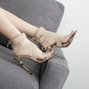2019 Summer Ladies Party Pumps Shoes 11.5cm High Heels Pumps Women Sandals Fashion Gladiator Roma Stretch Ankle Strap Sandals