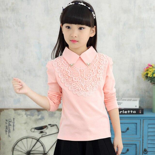 School Girls Blouse Shirts New 2018 Autumn Fashion Kids Solid Turn-Down Lace Flower Blouses High Quality Children Cotton Clothes