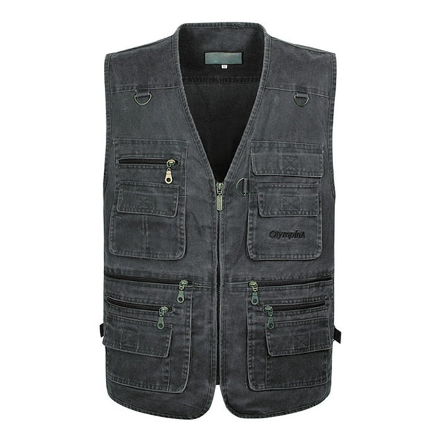 5XL 6XL 7XL New Male Casual Summer Big Size Cotton Sleeveless Vest With Many 16 Pockets Men Multi Pocket Photograph Waistcoat
