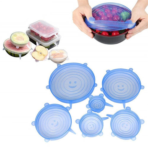 6 Pcs Kitchen Gadgets Kitchen Accessories Reusable Silicon Stretch Lids Universal Lid Silicone Food Wrap Bowl Lid Kitchen Tools