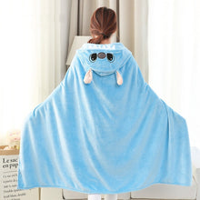 Load image into Gallery viewer, Lilo and Stitch Coral Fleece Fabric Blanket with Hooded Cute Cartoon Cosplay Cloak Cape Warm Wearable Fur Throw Blanket for Sofa