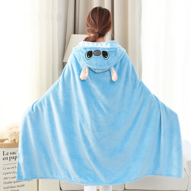 Lilo and Stitch Coral Fleece Fabric Blanket with Hooded Cute Cartoon Cosplay Cloak Cape Warm Wearable Fur Throw Blanket for Sofa