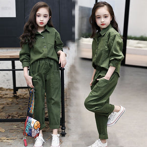 Kids Costume Teen Girls Clothing Set 2020 Spring ArmyGree Blouse Pants Suit School Girls Tracksuit Kids Clothes Set 10 12 Years