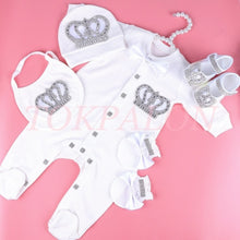 Load image into Gallery viewer, 0-6 month bodysuit baby girl clothes set rhinestone crown romper ropa bebe verano newborn baby jumpsuit pajamas outfit gift 2020