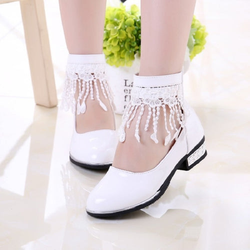 Tassel Girls Princess Shoes Flower Girl White Leather Shoes Kids Little Girls Party Dress School Shoes 4 5 6 7 8 9 10 11 12 Year