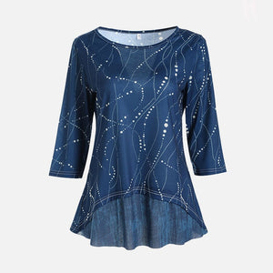 Plus Size 5XL O Neck 3/4 Sleeve Women's Tunics Dot Print Female Tunic Blouses Spring 2020 Summer Casual Irregular Hem Lady Shirt
