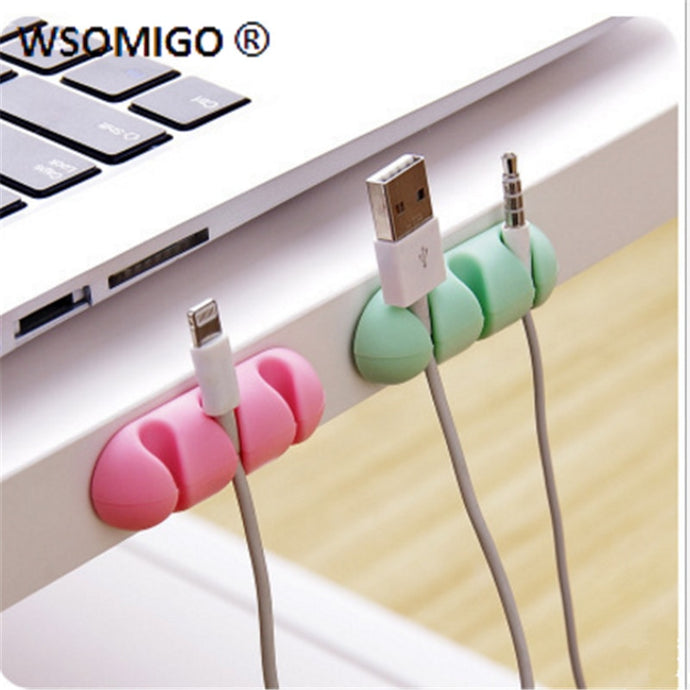 WSOMIGO 2pcs/set Self-adhesive Kitchen Wire Organizer Kitchen Wire Fixing Gadget Desktop Wire Storage Holder Accessories-S