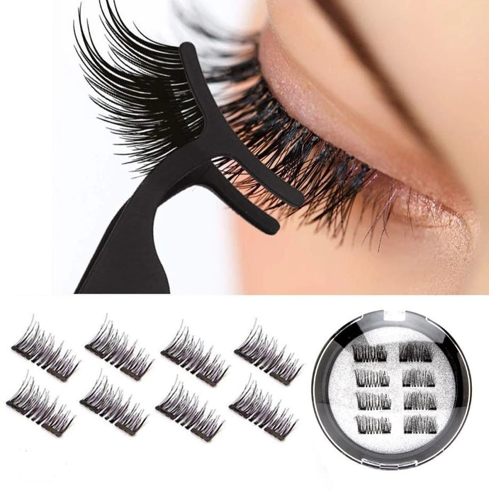 Single / double / three magnets eyelashes hand-woven European and American makeup magnet false eyelashes support customization