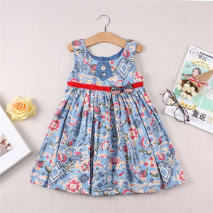 New Summer Girl Dress Cartoon Printing In Children Dress toddler girls princess dress flower dress made of cotton woven fabric