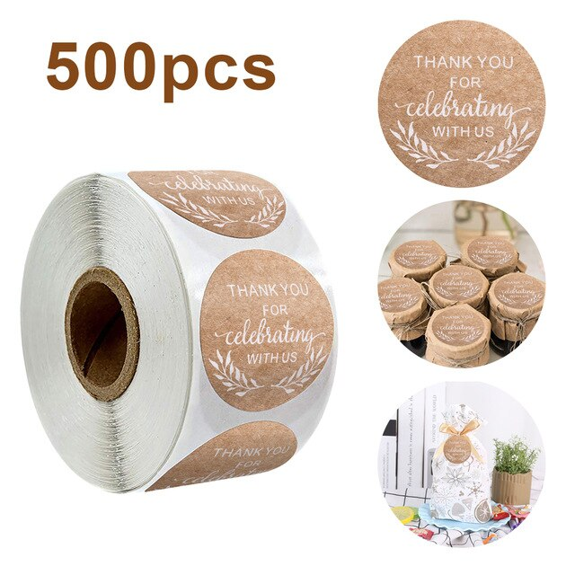 500 pcs Thank You Label Sticker Natural Kraft Thank You Sticker seal labes Hand Made for Package Stationery Sticker Giveaways