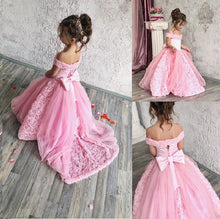 Load image into Gallery viewer, Pink Tulle Flower Girl Dress For Wedding Puffy Kids Pageant Gowns Off The Shoulder Backless Custom Made Vestidos Long Train Bow