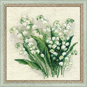 Light Blue Cross stitch embroidered RS pure cotton with self-made non-printing and non-printing Riolis 1497 Lily Bouquet