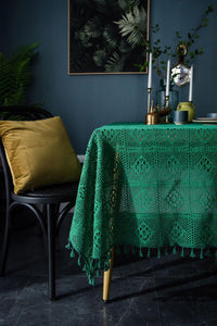 Handmade Crochet Tablecloth,Elegant Rustic Floral Table Decoration,Dark Green Retro American Cotton Hollow Out Table Cloth